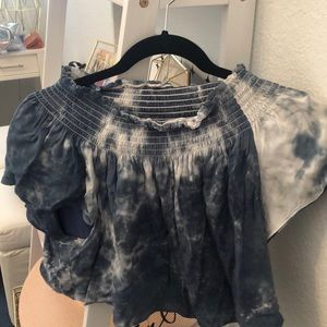Off the shoulder flowy tie dye top